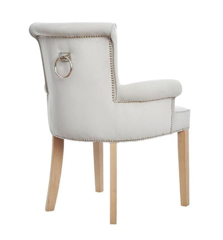 Philip - Velvet Knocker Ring Dining Chair, Shabby Chic Accent Chair-Chair-Belle Fierté
