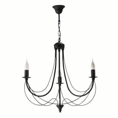 3 Light Black Finish Candle Style Chandelier-Chandelier-Belle Fierté