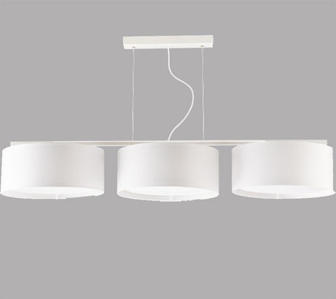 3 Light White Shade White Finish Island/Dining Table Large Ceiling Lamp-Chandelier-Belle Fierté