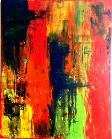 "Handmade Acrylic Canvas Red Abstract Painting -""Euphoria""-Wall art-Belle Fierté"