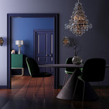 CAIRO - Glamour Black Chandelier, Black Glass Ceiling Lamp-Chandelier-Belle Fierté