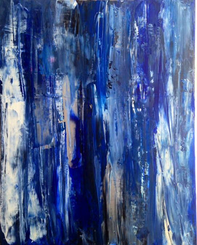 "Handmade Acrylic Canvas Blue Abstract Painting 40x50cm -""Depth""-Wall art-Belle Fierté"