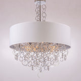 EUGENE - Glamour Ceiling Lamp, Chrome Finish White Shade Chandelier-Chandelier-Belle Fierté
