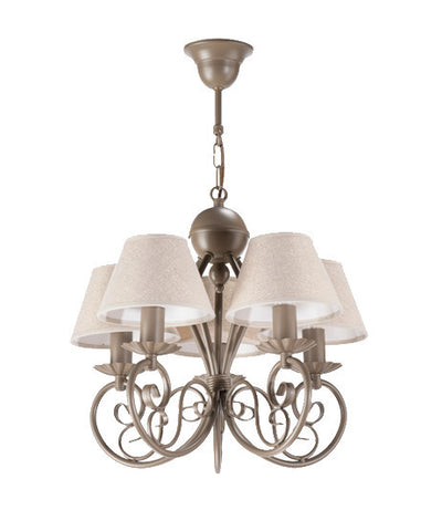 5 Light Beige Shade Beige Finish Shabby Chic Ceiling Lamp/Chandelier-Chandelier-Belle Fierté