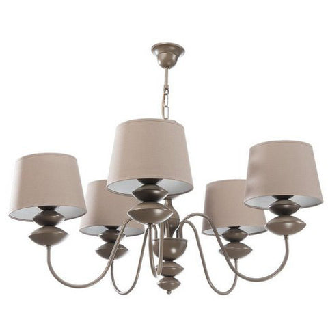 5 Light Beige Shade Beige Finish Metal Chandelier-Chandelier-Belle Fierté