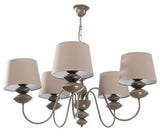 Arlo - 5 Light Beige Shade Beige Finish Metal Chandelier-Chandelier-Belle Fierté