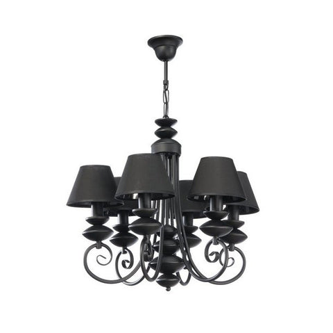 6 Black Lamp Shade Traditional Chandelier-Chandelier-Belle Fierté