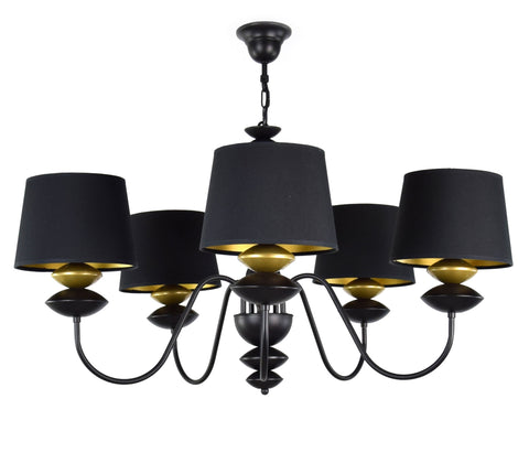 5 Light Black Shade Chandelier-Chandelier-Belle Fierté