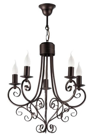 Odile - 5 Light Brown Rustic Candle Style Chandelier-Chandelier-Belle Fierté