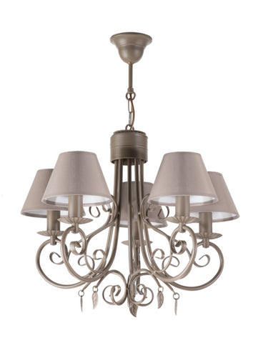 5 Light Beige Shade Brown Finish Metal Chandelier-Chandelier-Belle Fierté