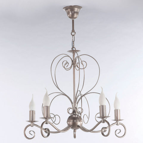 Avril - Rustic 5 Light Silver Finish Candle Style Chandelier-Chandelier-Belle Fierté