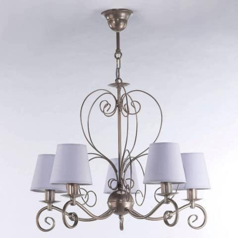5 Light Pastel Berry Shade Silver Finish Chandelier-Chandelier-Belle Fierté