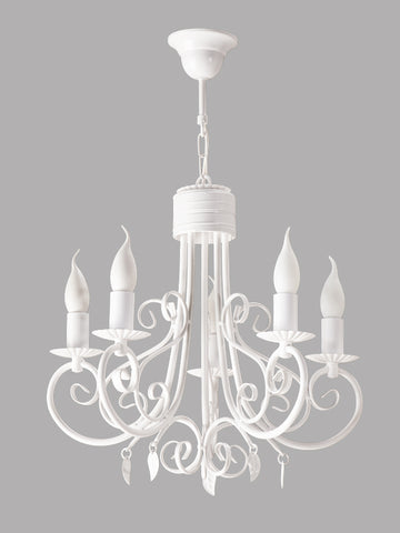 5 Light White Finish Candle Style Chandelier-Chandelier-Belle Fierté