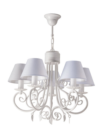 5 Light White Shade and White Finish Rustic French Chandelier-Chandelier-Belle Fierté