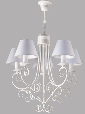 5 Light White Shade and White Finish Metal Traditional Chandelier-Chandelier-Belle Fierté