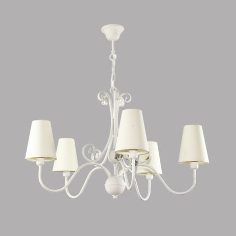 5 Light Cream Shade Cream Finish Shabby Chic Ceiling Lamp/Chandelier-Chandelier-Belle Fierté