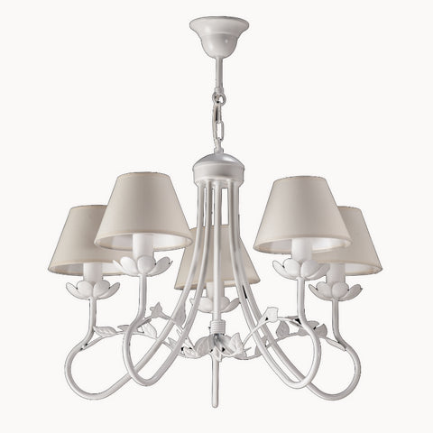 5 Light Cream Shade and White Finish Metal Chandelier-Chandelier-Belle Fierté