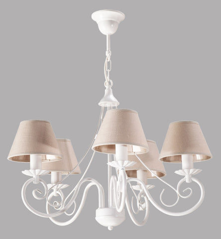 5 Light Beige Shade and White Finish Metal Chandelier-Chandelier-Belle Fierté
