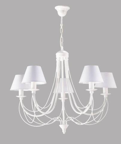 White Shade Metal Chandelier-Chandelier-Belle Fierté