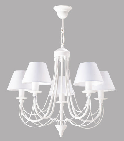 5 Light White Shade and White Finish Metal Chandelier-Chandelier-Belle Fierté