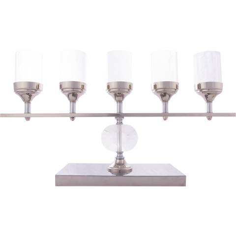 Giselle XL - Wide 5 Arm Chrome and Glass Candle Holder-Candle Holders & Lanterns-Belle Fierté