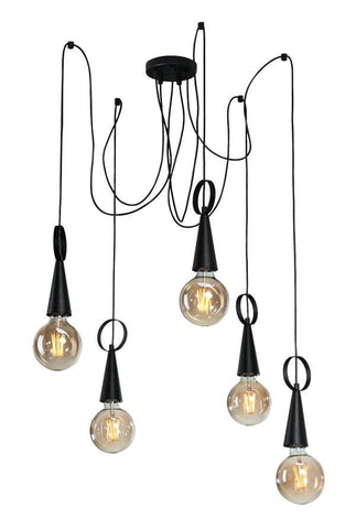 Hugo -5-Light Spider Pendant Light, Vintage Industrial Thread Celing Chandelier-Chandelier-Belle Fierté