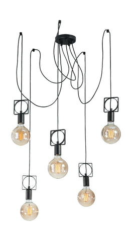 Theo - 5-Light Spider Pendant Light, Vintage Industrial Thread Celing Chandelier-Ceiling Lamp-Belle Fierté