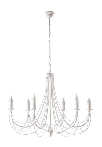 6 Light White Finish Candle Style Chandelier-Chandelier-Belle Fierté