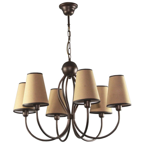 Beige Six Lamp Shade Chandelier-Chandelier-Belle Fierté