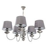 5 Light Grey Shade Grey Finish Metal Chandelier-Chandelier-Belle Fierté