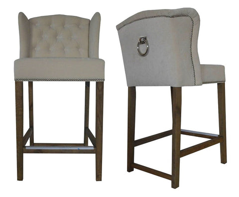 Abigail - Taupe Backwing Bar Stool, Knocker Breakfast Bar Chair, Set of 3-Bar chair-Belle Fierté