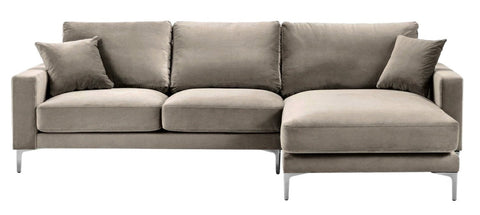 Acton - Taupe Velvet Corner Sofa, Right L Shape Sofa-Sofa-Belle Fierté