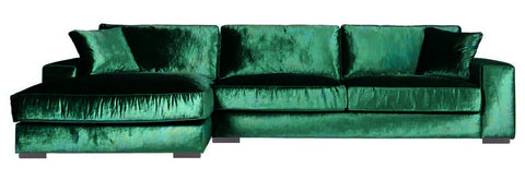 Addison - Green Crushed Velvet Modern Corner Sofa, Left Side L-Shape Sofa-Sofa-Belle Fierté