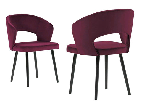 Adriana - Burgundy Modern Velvet Dining Chair, Set of 2-Chair-Belle Fierté