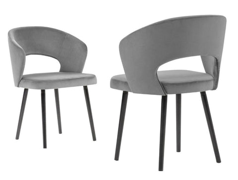 Adriana - Grey Modern Velvet Dining Chair, Set of 2-Chair Set-Belle Fierté