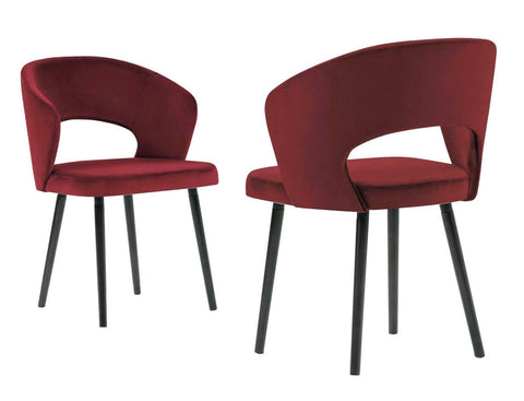 Adriana - Red Modern Velvet Dining Chair, Set of 2-Chair-Belle Fierté