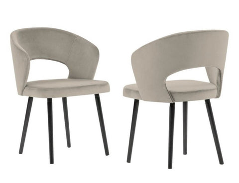 Adriana - Taupe Modern Velvet Dining Chair, Set of 2-Chair-Belle Fierté
