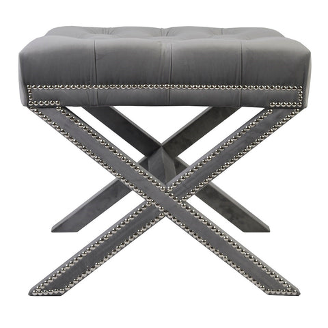 Alice - Grey Tufted Crossed Leg Footstool-Benches & Ottomans-Belle Fierté