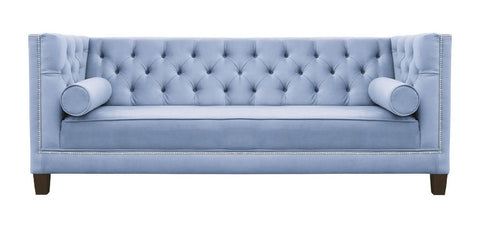 Amelia - Blue Velvet 3 Seater Chesterfield Sofa-Sofa-Belle Fierté