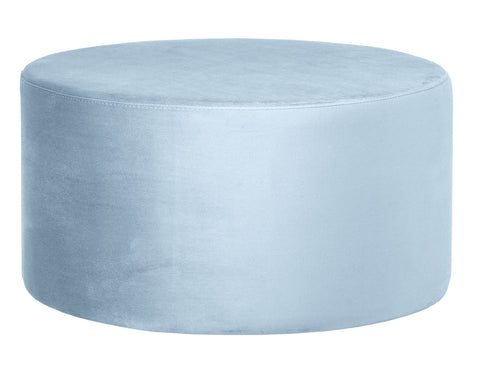 Andes - Light Blue Round 80cm Cocktail Ottoman, Upholstered Coffee Table-Ottomans and Footstools-Belle Fierté