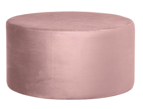 Andes - Pink Round Cocktail Ottoman, 80cm Upholstered Coffee Table-Ottomans and Footstools-Belle Fierté