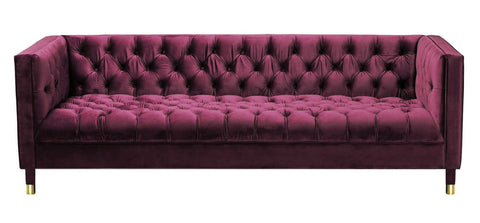Asti - Burgundy 3 Seater Modern Chesterfield Velvet Sofa-Sofa-Belle Fierté