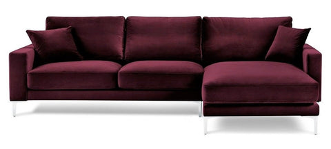Acton - Burgundy Velvet Corner Sofa, Right L Shape Sofa-Sofa-Belle Fierté