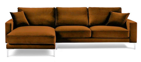 Acton - Burnt Orange Velvet Corner Sofa, Left L Shape Sofa-Sofa-Belle Fierté