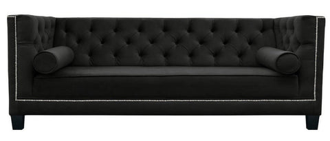Amelia - Black Velvet 3 Seater Chesterfield Sofa-Sofa-Belle Fierté