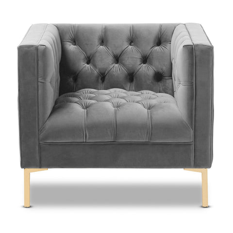 Asher - Grey Velvet Tufted Modern Armchair-Armchair-Belle Fierté