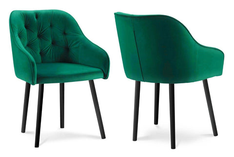Bergen - Green Tufted Velvet Dining Chair, Set of 2-Chair-Belle Fierté