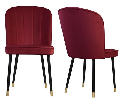 Bruton - Red Velvet Dining Chair, Set of 2-Chair-Belle Fierté