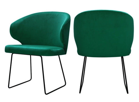 Bryson - Green Velvet Modern Metal Base Dining Chair, Set of 2-Chair-Belle Fierté