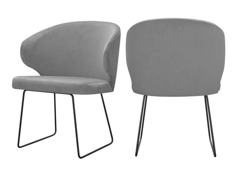 Bryson - Grey Velvet Modern Metal Base Dining Chair, Set of 2-Chair-Belle Fierté